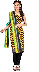 Parchayee Women's Cotton Dress Material (Printed_Yellow_Free Size)