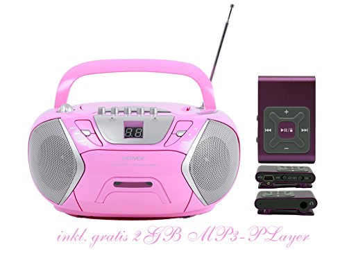 Kinder Mädchen Stereoanlage CD-Player Radio Kassettendeck Boombox DENVER TCP-38 Pink inkl. 2GB MP3-Player Lila