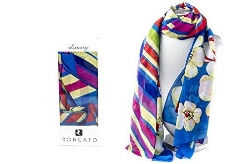 Foulard de chiffon mujer RONCATO en box regalo luxury motivos azul claro L1209