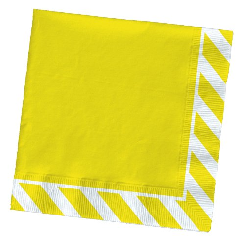 Party Partners Design Pattern Cocktail Napkins, Yellow Stripe