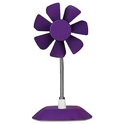 Arctic Breeze USB Desktop Fan with Flexible Neck and Adjustable Fan Speed, Purple (ABACO-BRZPP01-BL)