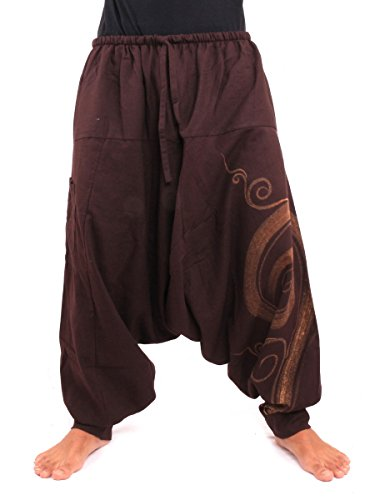 Jing Shop Harem Pants - Cotton One Size With Swirl Print Unisex for Men and Women Hippie Boho Chic (Male Hippie Clothes)
