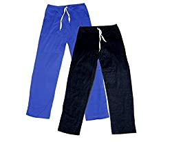IndiWeaves Women Super Combo Pack 4 (Pack of 2 Lower/Track Pant and 2 T-Shirt)_Blue::Black::Blue::Black _L
