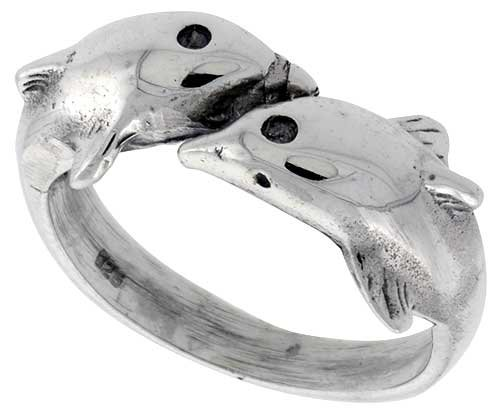 Sterling Silver Double Dolphin Polished Ring, size 6.5