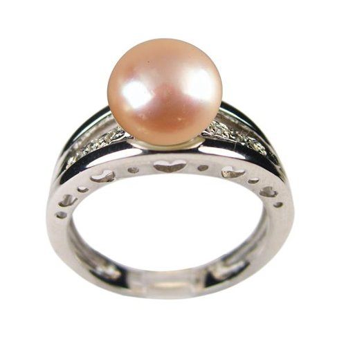 Eternity Peach Pink Cultured Pearl Cubic Zirconia Carved Hearts Platinum Overlay Sterling Silver Ring (Size 7)