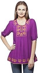Peptrends Women's Regular Fit Top (TO15134PU_XL, Purple, XL)