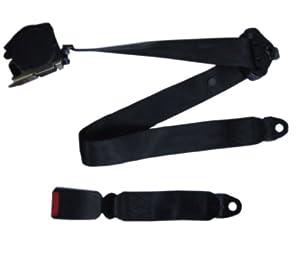 Estore New Black 3 Point Retractable Car Lap & Shoulder Seat Belt
