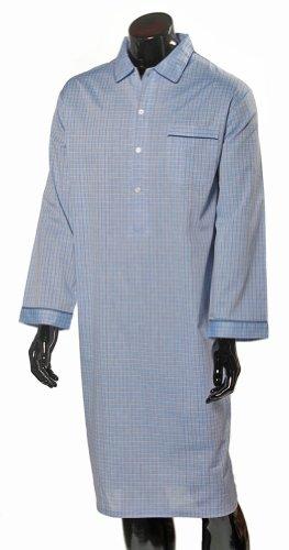 Lloyd Attree & Smith Luxurious Cotton Nightshirt - Blue Check Pattern