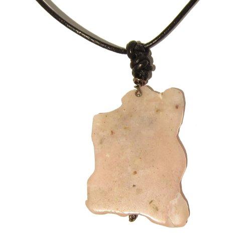 Opal Necklace 01 Pendant Pink Crystal Healing Stone Black Leather Gemstone Reiki Energy 17
