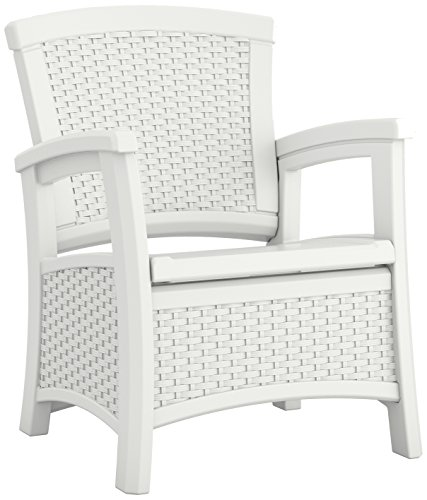 Suncast ELEMENTS Club Chair with Storage, White (White Wicker Resin Chair compare prices)