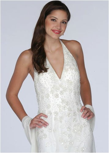Ivory Beaded Halter Dress - Bridal, Wedding, Party, Formal Gown by Sean Collection (1870)