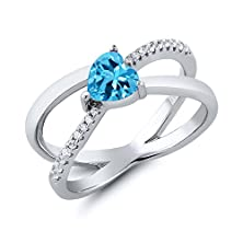 buy 1.13 Ct Heart Shape Swiss Blue Topaz 925 Sterling Silver Ring