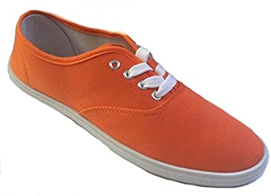 Shoes 18 Womens Canvas Shoes Lace up Sneakers 18 Colors Available (5, Neon Orange 324)
