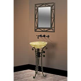 Wrought Iron Vessel Sink Stand with Iron Mirror and Stone Sink DLVET-03-2: 14 1/2 W x 17 1/4 D x 31 H