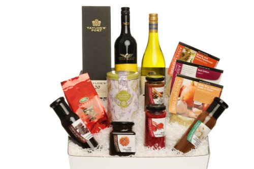 The Gourmet Diners Gift Box: Taylor's 20 year old Tawny Port, Brandy & Three Peppercorn Finishing Sauce, Smoked Garlic & Thyme Finishing Sauce, Red Onion Gourmet Gravy, Beetroot & Horseradish Relish, Rhubarb & Ginger Chutney, Roast Garlic & Balsamic Vineg