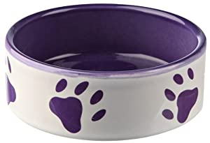 Trixie Ceramic Bowl with Paw Prints, 12 cm, White/ Purple by TRJHW