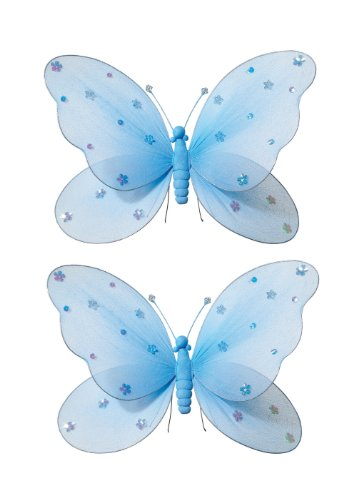 Hanging Butterfly Blue Nylon Butterfly With Sequins And Glitter For Baby Nursery Bedroom, Girls Room Ceiling Wall Décor, Wedding Birthday Party, Baby Bridal Shower Butterfly Decoration