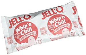JELL-O Whip 'n Chill Strawberry Mousse Mix, 15-Ounce Packages (Pack of 8)