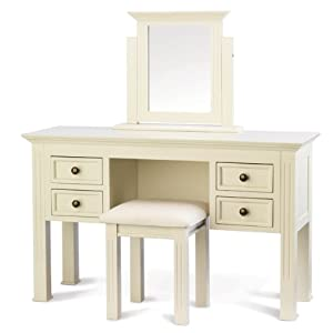 Chateau french ivory dressing table mirror stool wood for Bedroom furniture amazon