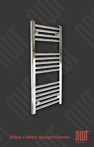 500 x 800 Heated Towel Rail / Radiator / Warmer - Straight Chrome 1402 BTU's