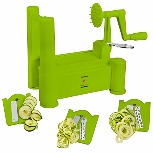 Brieftons Tri-Blade Spiralizer: Vegetable Spiral Slicer, Strongest-Heaviest, 100% Risk Free with Lifetime Guarantee, Best Veggie Pasta Spaghetti Maker for Low Carb/Paleo/Gluten-Free Meals