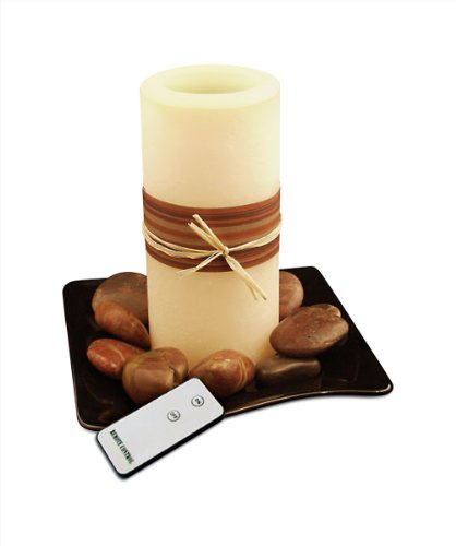 WBM HG1201 Himalayan Glow Flameless Candle with Zen Wood Plate and Stone and On/Off Remote Control