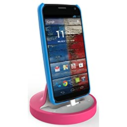 RND Dock for Moto X Moto G and Motorola Droid Turbo 1/ Droid Turbo 2 (works with rugged dual layer slim cases and no cases) (white and pink)