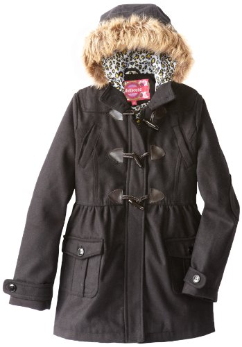 Dollhouse Girls 7-16 Wool Toggle Coat With Faux Fur Trim, Black, 7/8
