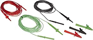 "Fluke TL1550EXT 3 Piece Extended Test Lead Set with Alligator Clips, 5000V DC Voltage, 20A Current, 300"" Cable Length"