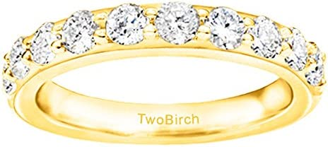 10k Gold Moissanite Amazing Anniversary Wedding Ring with Forever Brilliant Moissanite by Charles Co