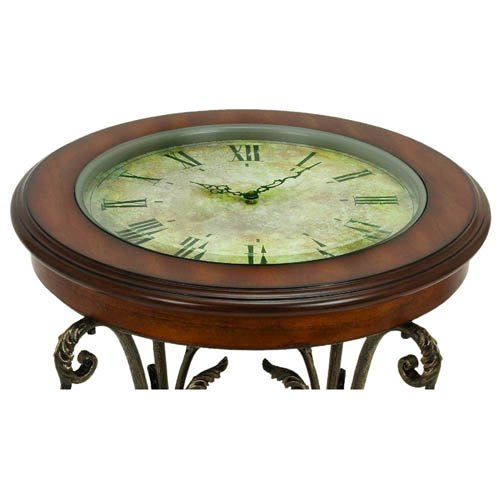 casa cortes designer round clock coffee end table