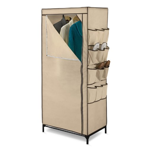 Honey-Can-Do Wrd-01270 27-Inch Wide Storage Closet With 9-Side Storage And Shoe Bins, Tan front-546450