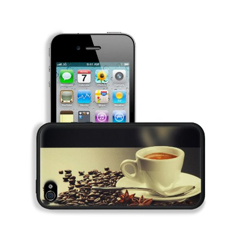Hot Steam Coffee Beans Cup Apple Iphone 4 / 4S Snap Cover Premium Leather Design Back Plate Case Customized Made To Order Support Ready 4 7/16 Inch (112Mm) X 2 3/8 Inch (60Mm) X 7/16 Inch (11Mm) Msd Iphone_4 4S Professional Cases Touch Accessories Graphic front-641687