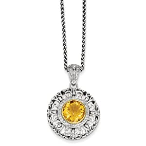 IceCarats Designer Jewelry Sterling Silver W/14K 3.27 Citrine 1/6Ct. Diamond 18In Necklace In 18 Inch