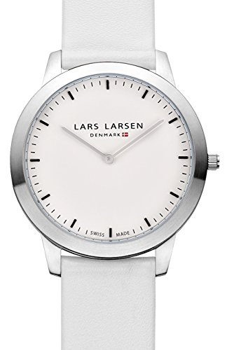 Lars Larsen Rene Unisex Quartz Watch with White Dial Analogue Display and White Leather Strap 135SWWL