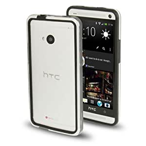 TPU + Transparent Plastic Bumper Frame Case for HTC One / M7 (Black)