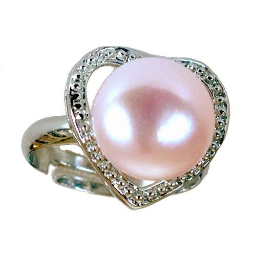 Heart Shaped Pink Pearl Promise Ring