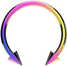 Piercing Tipo Herradura de Acero Iridisado Arco Iris para Labio Nariz Septum Tragus Oreja - Varios Tamaños con Puntas Cónicas - A, Arco Iris / Iridisado, Acero Quirúrgico (316), 1.2mm(16g)