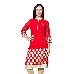 CJ15 Chinese collar georgette red kurti for women