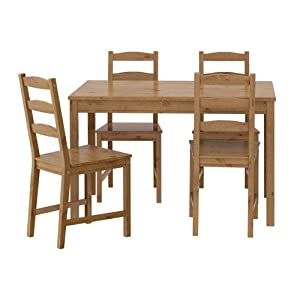 Ikea Table And 4 Chairs Antique Stain Solid Pine Wood JOKKMOK