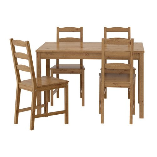 IKEA Ikea Table And 4 Chairs Antique Stain Solid Pine Wood JOKKMOKK