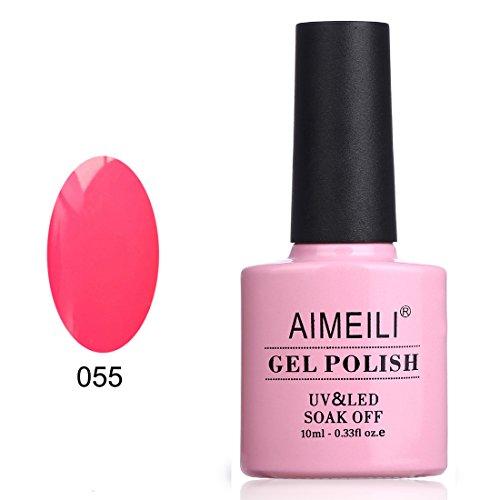 AIMEILI Soak Off UV LED Gel Nail Polish - Neon Shocking Pink (055) 10ml (Neon Gel Nail Polish compare prices)