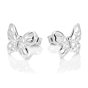 925 Sterling Silver Little Butterfly Post Stud Earrings 11 mm Jewelry for Women, Teens, Girls - Nickel Free by Chuvora