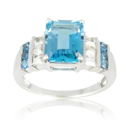 Sterling Silver Octagon London Blue Topaz and White Topaz Ring, Size 6