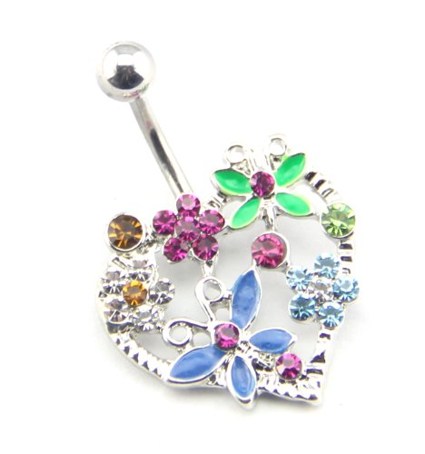 Baqi 14G Multicolor Jeweled Flowers Connect Heart Shaped Bar Belly Ring Navel Bar Stud Body Piercing Multicolor