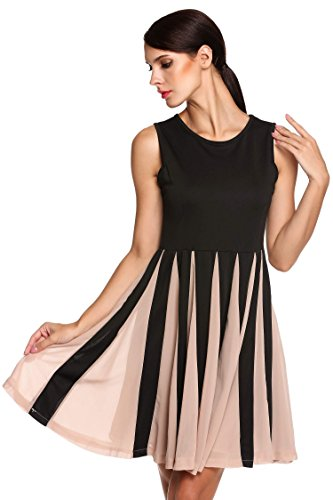 ANGVNS Women Elegant Sleeveless Round Neck Solid Pleated Black Dress(S/M/L/XL)