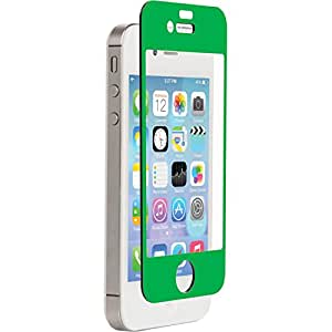 Znitro Glass Screen Protector For Apple iPhone 4/4s - Retail Packaging - green Bezel