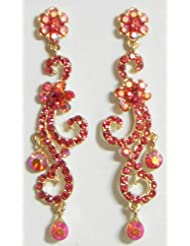 Red Stone Studded Dangle Earrings - Stone And Metal