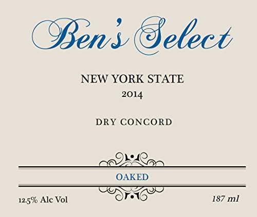 "2014 Ben Ish Winery ""Ben'S Select"" Finger Lakes New York State Dry Concord Wine With Personalized Label 187 Ml"