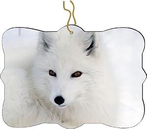 Rikki KnightTM White Arctic Fox Close-Up Design Tree Ornament / Car Rear View Mirror Hanger